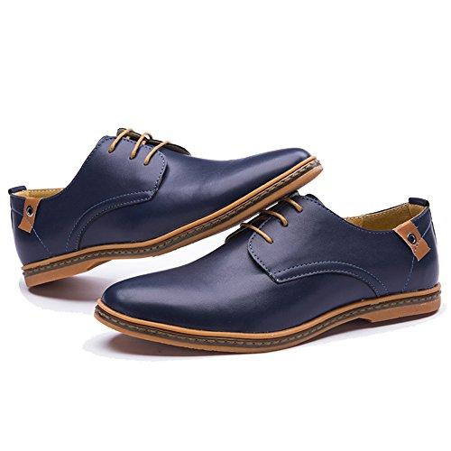 Xmwealthy Herenmode Casual Schoenen Klassieke Veter Oxford Schoenen Blauw