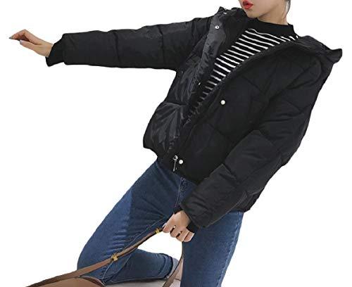 Velluto Breve Piumino Nero Xinheo Mini Cappuccio Allentata Con Casuale Tasche Donne Zip Con 1PwWq