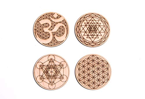 Sacred Geometry Coasters, One Set of Four includes: 1 Metatrons Cube, 1 Sacred Om, 1 Sri Yantra, 1 Flower Of Life, Drinks, Table Decorations for Hot and Cold Beverages, Protect furniture ()