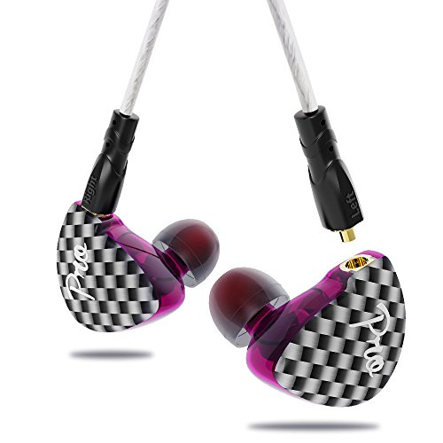 In Ear Earphones Noise Isolating no Mic Yinyoo Pro Ergonomic Comfort-Fit Headphone Earpbuds Bass Stereo Sound Wired Headset with Balanced Armature and Dynamic for PC Cellphones(purple nomic)