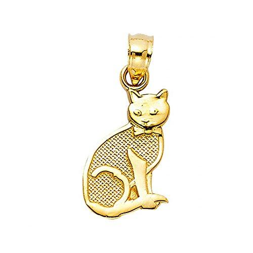 14k Yellow Gold Cat Pendant Charm