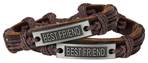 (Sun Life Style Best Friends Bracelets for 2 - Braided with Metal Tag - Inspirational Jewelry for Guys and Gals (Best Friend 2) )