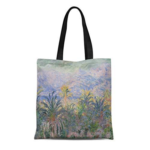 Semtomn Canvas Tote Bag Shoulder Bags Palm Trees at Bordighera By Claude Monet 1884 French Women's Handle Shoulder Tote Shopper Handbag ()