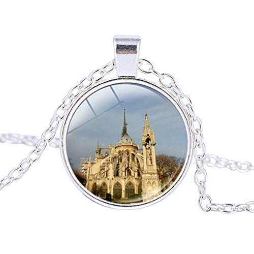 Haluoo Notre Dame de Paris Cathedral Vintage Steampunk Style Glass Jewelry Pendant Necklace Cabochon Glass Bronze Charm Pendant Necklace – Includes 20″ Chain (N)