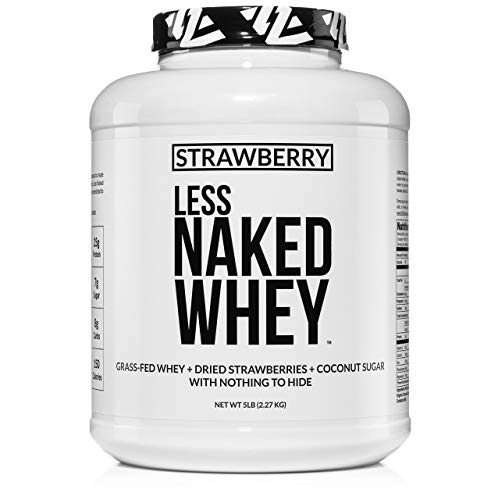 Strawberry Whey Protein – All Natural Grass Fed Whey Protein Powder + Dried Strawberries + Coconut Sugar- 5lb Bulk, GMO-Free, Soy Free, Gluten Free. Aid Muscle Growth & Recovery – 61 Servings