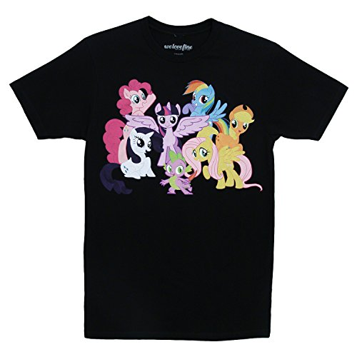 My Little Pony Mane 6 Intro Adult Black T-Shirt (Adult (My Little Pony Adults Clothes)