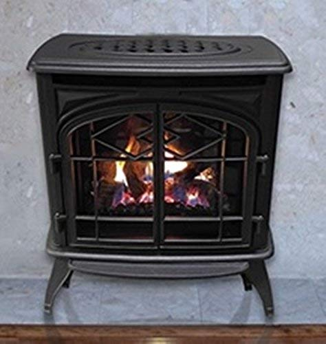 Thelin Echo Direct Vent (NG) Natural Gas or (LP) Propane Heater - Cast Iron Painted in Metallic Black