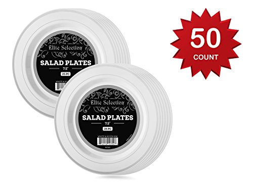 Elite Selection Salad Plates – 50 Disposable Dessert Party Plastic Plates – 7.5 Inches Party Plates With Silver Rim – White Plastic Plates – Party Accessories