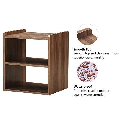 GreenForest Bedside Table 3-Tier Wood Organizer Storage Shelf for Bedroom Nightstand End Side Coffee Table, Walnut by GreenForest (Image #3)