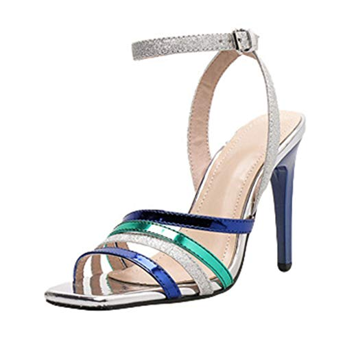 Vielgluck_Sandal 2019 New Sandal for Womens European and American High Fine Heels Square Toe Cross Straps Ankle Buckle Summer Leisure Party Wedding Shoes