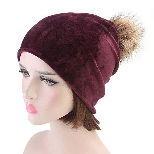 Fheaven Women Winter Warm Velvet Hats Warmer Beanie Casual Ski Pompom Caps (,Red)
