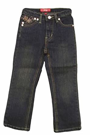 Pop Jeans Little Girls Embroidery Stretch Dark Denim Jeans ~ Size 4