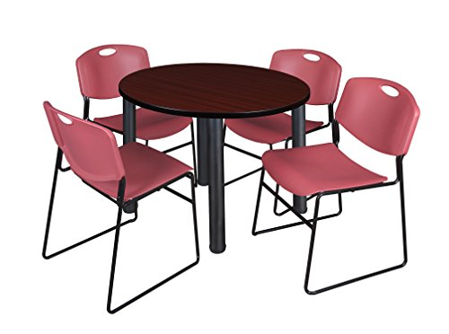 """Kee 42"""" Round Breakroom Table- Mahogany/ Black & 4 Zeng Stack Chairs- Burgundy"""