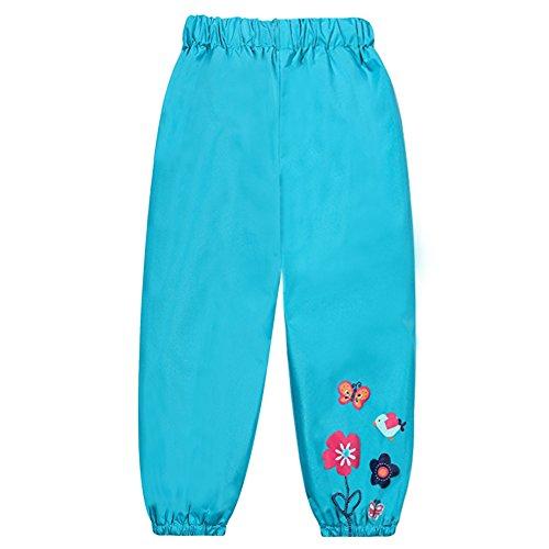 (LZH Toddler Girls Boys Rain Pants Waterproof Flower Print Rainwear )