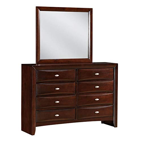 Roundhill Furniture Emily 111 Contemporary Solid Wood Construction Dresser and Mirror, King, Merlot ()