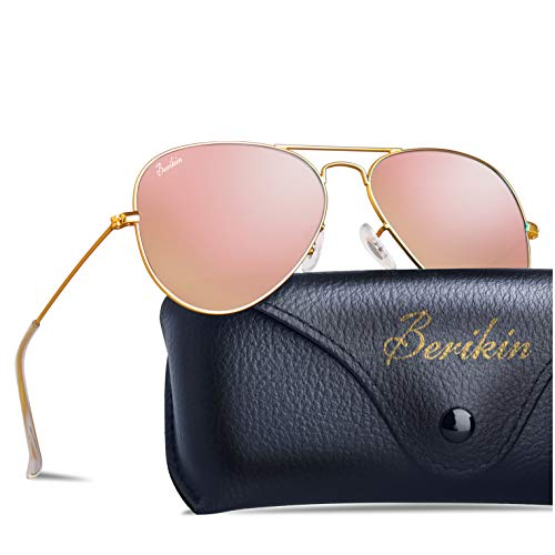 Berikin Classic Aviator Style Mirror Coating Sunglasses For Men Women 100% UV400 Protection Pink Flash Glass Lenses Gold Metal Frame
