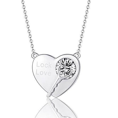 - EURYNOME 925 Sterling Silver Love Heart Lock Key Pendant Necklace,18'' Rolo Chain Jewelry for Women