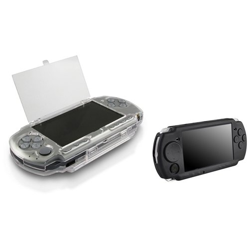Everydaysource 2 Pack Case Compatible With Sony PSP 2000 3000 - Clear Clip On Crystal Hard Case + Black Soft Silicone Skin Case (Psp 3000 Crystal)