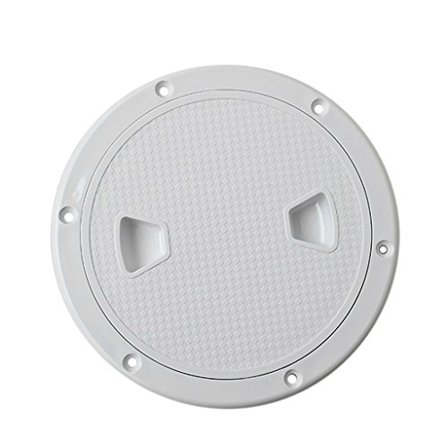 (MonkeyJack Marine 4'' 6'' 8'' Boat Round Non Slip Inspection Hatch with Detachable Cover - White, 6inch)