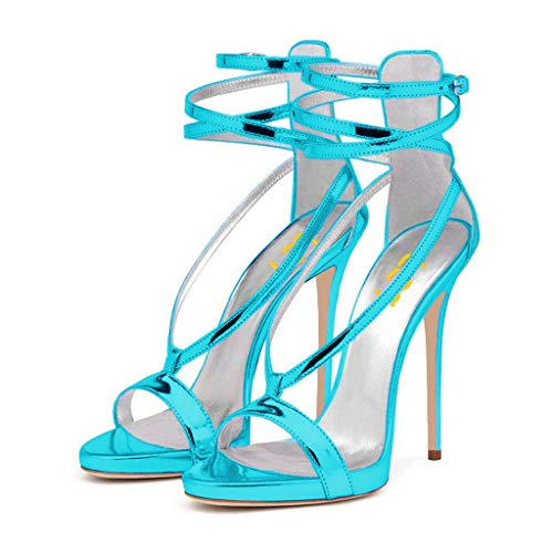 FSJ Women Sexy Strappy Sandals for Wedding Open Toe Metallic High Heels Pumps Shoes Size 8 (Metallic Open Toe Pumps)