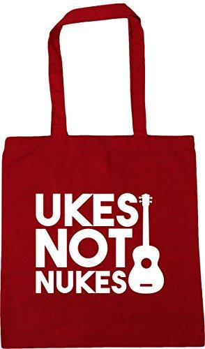 HippoWarehouse Ukes Not Nukes Tote Shopping Gym Beach Bag 42cm x38cm, 10 litres Classic Red