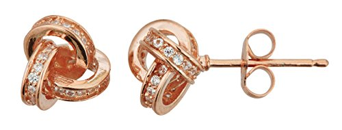 Silver Knot Stud Set (Sterling Silver 3D Love knot Micropave Stud Earrings (rose-gold-and-sterling-silver))
