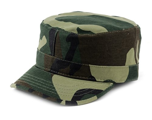 NYFASHION101 Fashionable Solid Color Unisex Fitted Army Military Cadet Cap, Camo, L