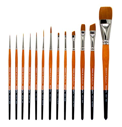 KINGART 1080B Radiant-TAKLON Set of 12 Paint Brush Set, Assorted, Gold, Silver, Black, Wood - Wood Silver Stain