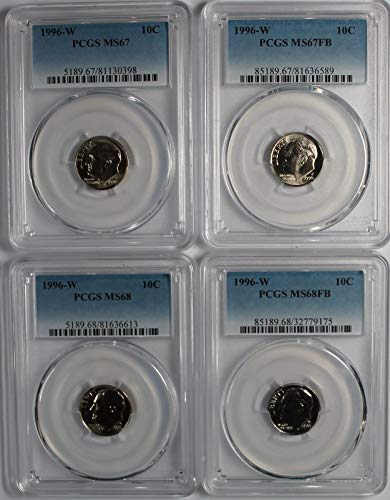 1996 W Roosevelt Dime Lot of (4) Four Coins Grading starter Kit. MS67 MS67FB MS68 MS68FB (Dimes Ms67)