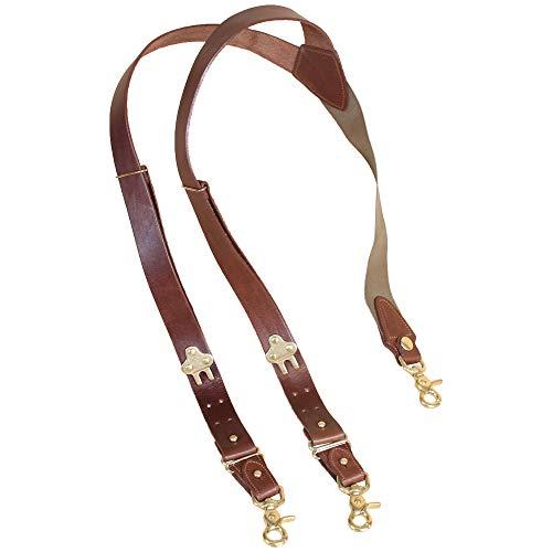 - Leather Suspenders Braces Adjustable Design Brown Brass Snaphooks Scissor Hook Snap No2 USA Made