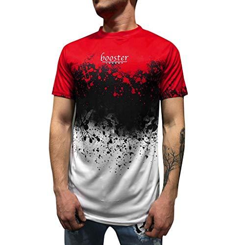 YKARITIANNA Men's Summer Letter Print Slim Fit Round-Neck Short Sleeve Top Shirt Blouse 2019 Summer Red