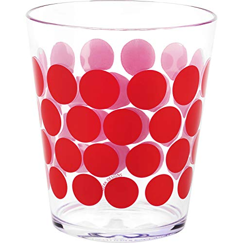Zak Designs 6 Piece Dot Dot 15oz Durable Plastic Tumbler Set - Indoor and Outdoor Use, Red