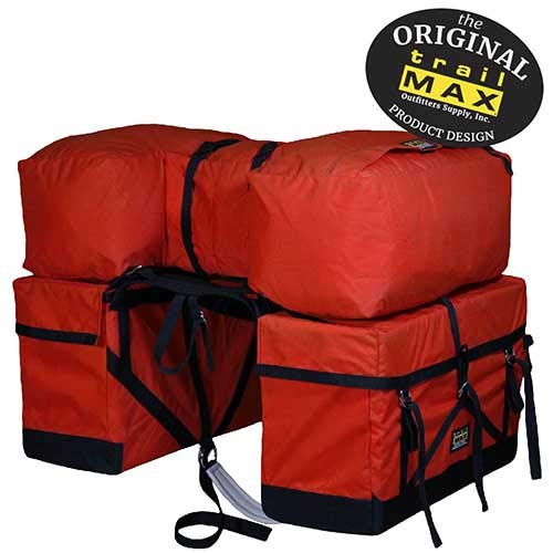 Pack-A-Saddle Pack Pannier Bags for Horse Trail Riding, Fits Most Western Riding Saddles and Decker/Sawbuck Pack Saddles, Easy to Use, with Detachable Panniers, Ideal for Hunting Camp, Orange