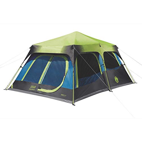Coleman 10-Person Dark Room Instant Cabin Tent with Rainfly, Green/Black/Teal (Renewed)