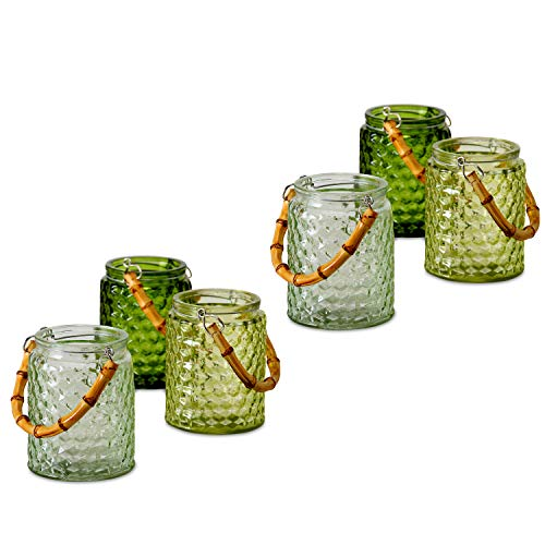 (WHW Whole House Worlds Palm Beach Bamboo Hobnail Hurricane Wind Lights, Set of 6, Votive Candle Holders Rustic Lush Green Glass, 4 3/4 Inches Tall, Mason Jar Shape)