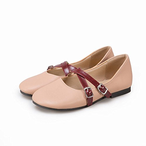 Carolbar Womens Retro Buckle Casual Lolita Cosplay Mary Janes Flats Pink AMw51WzPu