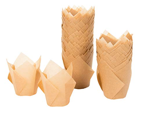 Tulip Cupcake Liners - 100-Pack Medium Baking Cups, Muffin Wrappers, Perfect for Birthday Parties, Weddings, Baby Showers, Bakeries, Catering, Restaurants, Kraft Brown