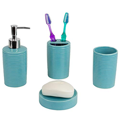 Home Basics Beautiful Horizon Vertical Textured 4 Pcs Ceramic Durable Bath Accessory Set-Decorative Lotion Dispenser/Dish/Tumbler/Toothbrush Holder (Turquoise) Perfect Gift & Decorating Idea