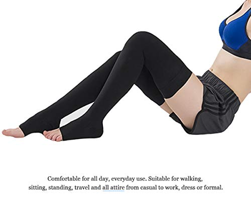 56c70b84e ... SKYFOXE Thigh High Compression Stockings Women Men-Open Toe Firm  Support 20-30 mmHg ...