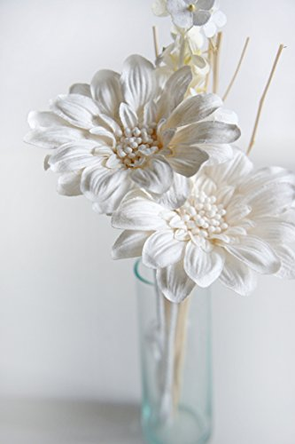 Plawanature Romantic White Daisy Mulberry Paper Flower Bouquet with Reed Diffuser for Home Fragrance. (2 Sets)