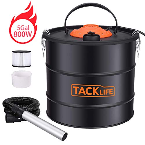 Read About Ash Vacuum Cleaner TACKLIFE, 800W 120V 5Gal 3.3 ft Hose+7.9in Tube, Debris/Ash Collector ...