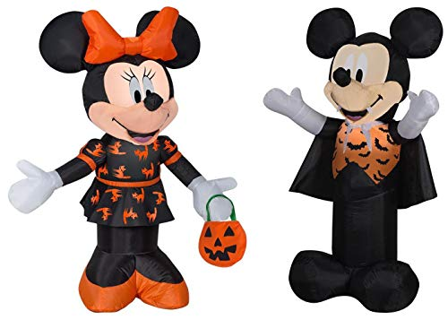 Mickey Mouse and Minnie Mouse Halloween Decorations Outdoor Yard Decor - 3.5 Feet Tall Airblown Self Inflatable with Energy Efficient LED Lights Bundle - 2 Items -