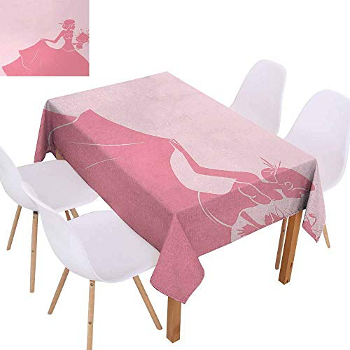 (UHOO2018 Bridal Shower,Durable Tablecloth,Bride in Pink Wedding Dress with Flowers Sketchy Celebration Image,Great for Kitchen Decoration,Salmon and Light Pink,50
