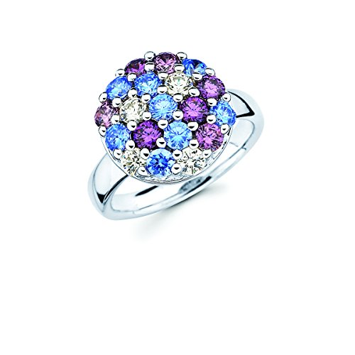 Lotopia Round Cluster Ring In Sterling Silver With Blue, Purple, White Premium Cubic Zirconia