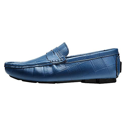 Taglia Blu Grande Pelle Penny Elegante Uomo Jamron Scarpe da Mocassino Pantofole Mocassini Barca wqTURWY