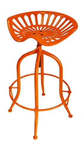 Seat Orange Tractor (NACH Vintage Style Adjustable Tractor Seat Bar Stool with Circle Base Foot Rest, 19.5x14.5x26-33