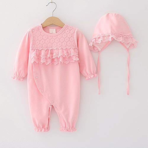 RubyShopUU Newborn Baby Girl Clothes Lace Flowers Girls Jumpsuits & Hats 2018 Spring Long Sleeves Baby Bodysuits Sleeping Bag ()