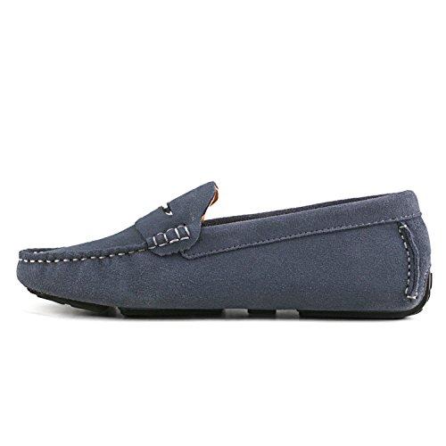 Shenduo Zapatos Casuales - Mocasines de cuero sueve cómodos antideslizantes para mujer D9123 Gris