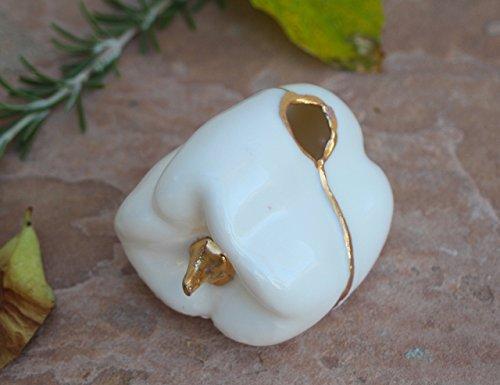 Vase Bud Victorian (White and Gold Pepper Bud Vase, handmade pottery pen holder)