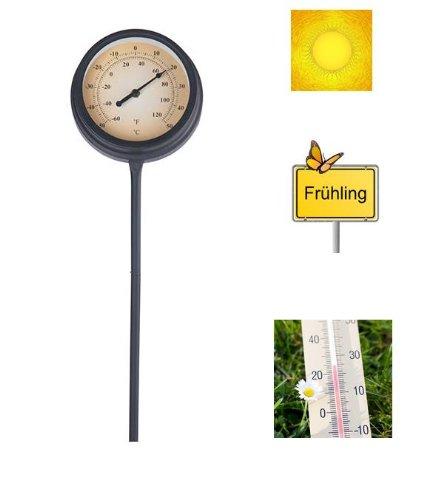 Gartenthermometer 50cm Metall schwarz Aussenthermometer Erdspieß